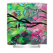 Abstract Landscape Bird and Blossoms Original Painting BIRDS DELIGHT by MADART Shower Curtain by Megan Duncanson