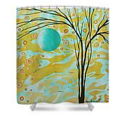 Abstract Landscape Painting Animal Print Pattern Moon And Tree By Madart Shower Curtain by Megan Duncanson