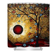Abstract Original Gold Textured Painting Frosted Gold By Madart Shower Curtain by Megan Duncanson