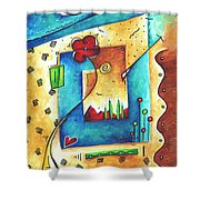 Abstract Pop Art Landscape Floral Original Painting Joyful World By Madart Shower Curtain by Megan Duncanson
