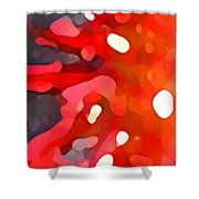 Abstract Red Sun Shower Curtain by Amy Vangsgard