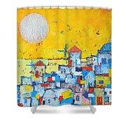 Abstract Santorini - Oia Before Sunset Shower Curtain by Ana Maria Edulescu