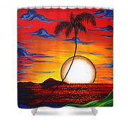 Abstract Surreal Tropical Coastal Art Original Painting Tropical Resonance By Madart Shower Curtain by Megan Duncanson