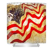 Abstract Usa Flag Shower Curtain by Stefano Senise