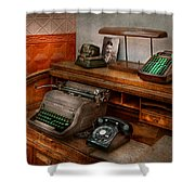 Accountant - Typewriter - The Accountants Office Shower Curtain by Mike Savad