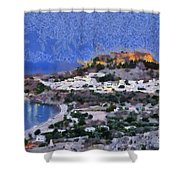 Acropolis Village And Beach Of Lindos Shower Curtain by George Atsametakis