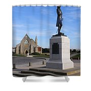 Admiral Lord Nelson And Royal Garrison Church Shower Curtain by Terri Waters