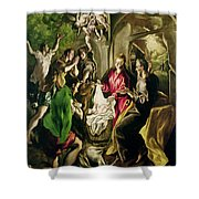 Adoration Of The Shepherds Shower Curtain by El Greco Domenico Theotocopuli
