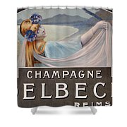Advertisement For Champagne Delbeck Shower Curtain by Louis Chalon