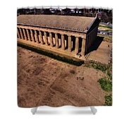 Aerial Photography Of The Parthenon Shower Curtain by Dan Sproul