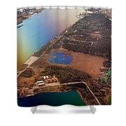 Aerial View Of Riga. Latvia. Rainbow Earth Shower Curtain by Jenny Rainbow