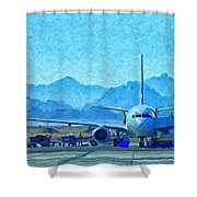 Aeroplane At Airport Shower Curtain by Antony McAulay