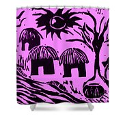 African Huts Pink Shower Curtain by Caroline Street