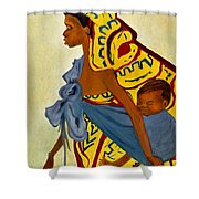 African Mother And Child Shower Curtain by Sher Nasser