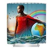 The Lupita Tsunami Shower Curtain by Anthony Mwangi