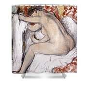 After The Bath Woman Drying Herself Shower Curtain by Edgar Degas