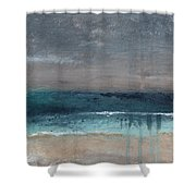 After The Storm- Abstract Beach Landscape Shower Curtain by Linda Woods