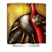Airplane - Prop - Fine Lines Shower Curtain by Mike Savad