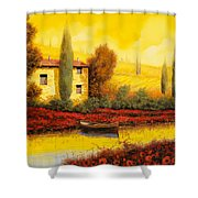 al tramonto sul fiume Shower Curtain by Guido Borelli