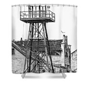 Alcatraz Guard Lookout Tower Shower Curtain by Erik Brede