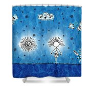 Alien Blue Shower Curtain by Gianfranco Weiss