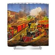All Aboard The Lightning Express 1874 Shower Curtain by Lianne Schneider