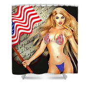 All American Girl - Independence Day Shower Curtain by Alicia Hollinger