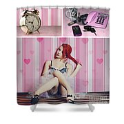 All Dressed Up Shower Curtain by Linda Lees