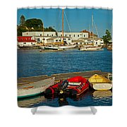 Alls Quiet In The Harbor Shower Curtain by Karol  Livote