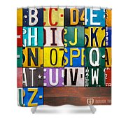 Alphabet License Plate Letters Artwork Shower Curtain by Design Turnpike
