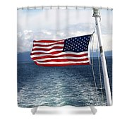 American Flag Blowing In The Wind At Sea Shower Curtain by Jessica Foster