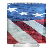 American Flag Shower Curtain by Christina Rollo