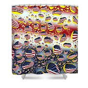 American Flag In Water Drops Shower Curtain by Paul Ge