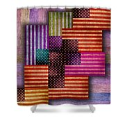 American Flags Shower Curtain by Tony Rubino