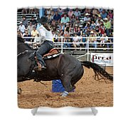American Rodeo Female Barrel Racer Dark Horse II Shower Curtain by Sally Rockefeller