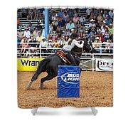 American Rodeo Female Barrel Racer Dark Horse Iv Shower Curtain by Sally Rockefeller