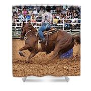 American Rodeo Female Barrel Racer White Blaze Chestnut Horse IIi Shower Curtain by Sally Rockefeller