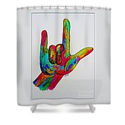 American Sign Language I Love You With A Border Shower Curtain by Eloise Schneider