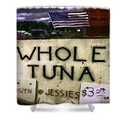 American Whole Tuna Shower Curtain by Jean OKeeffe Macro Abundance Art