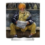 Americana - People - Casually Reading A Newspaper Shower Curtain by Mike Savad