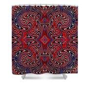 Americana Swirl Design 1 Shower Curtain by Sarah Loft