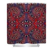 Americana Swirl Design 3 Shower Curtain by Sarah Loft