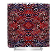 Americana Swirl Design 7 Shower Curtain by Sarah Loft