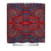 Americana Swirl Design 9 Shower Curtain by Sarah Loft