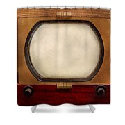 Americana - Tv - The Boob Tube Shower Curtain by Mike Savad