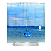 Ammersee Boats Shower Curtain by The Creative Minds Art and Photography