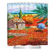 Among The Poppies Shower Curtain by Jean-Marc Janiaczyk