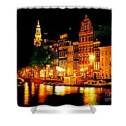Amsterdam At Night Four Shower Curtain by John Malone