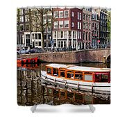 Amsterdam Canal And Houses Shower Curtain by Artur Bogacki