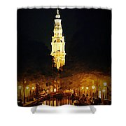 Amsterdam Church And Canal Shower Curtain by John Malone